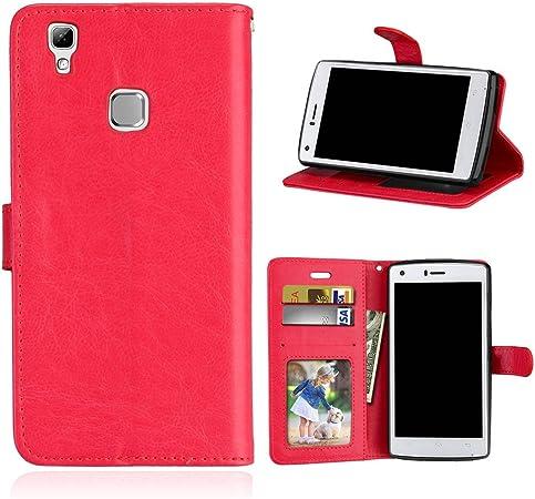 Funda Doogee X5 max/X5 max pro Case,Bookstyle 3 Card Slot PU Cuero cartera para TPU Silicone Case Cover-Rojo: Amazon.es: Electrónica