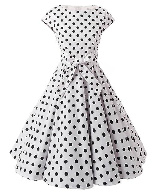 MISSMAO Mujer 50s Rockabilly vintage estilo mangas del casquillo falda Vestido de la impresión del punto