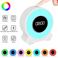 Amouhom Alarm Clock Radio, Wake up Color Changing Lighting, Portable Bluetooth 4.2 Hands Free Speaker with USB Charging, LED Touch Control Clock for Women, Men, Kids.(White)