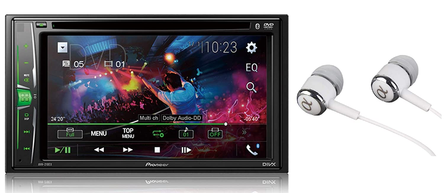 "Pioneer AVH-210EX Double DIN Bluetooth In-Dash DVD/CD AM/FM Front USB Digital Media Car Stereo Receiver 6.2"" WVGA Touchscreen Display, Apple iPhone and Android Music Support/FREE ALPHASONIK EARBUDS"