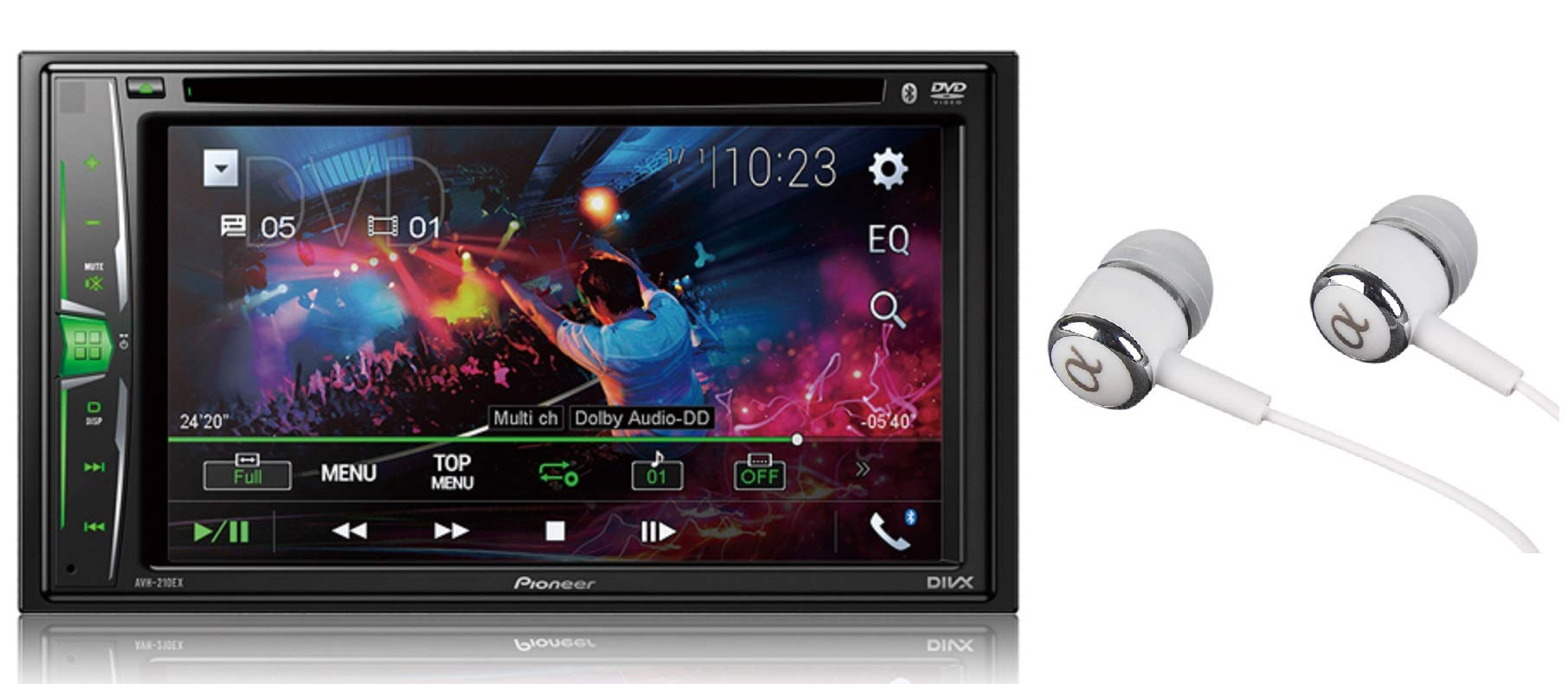 Pioneer AVH-210EX Double DIN Bluetooth In-Dash DVD/CD AM/FM Front USB Digital Media Car Stereo Receiver 6.2'' WVGA Touchscreen Display, Apple iPhone and Android Music Support/FREE ALPHASONIK EARBUDS