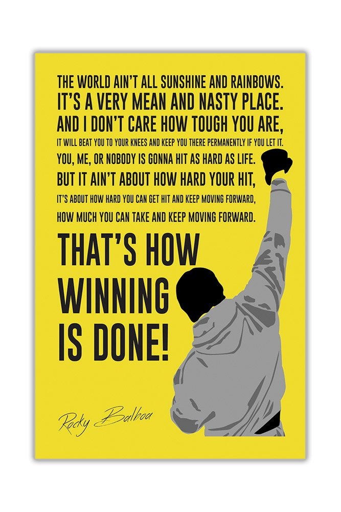 Famous Movie Quote By Rocky Balboa in White Wall Poster Prints Room Decoration Film Gloss Pictures Size A3 (42cm X 29.7cm) Canvas It Up