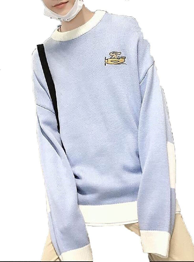 WSPLYSPJY Mens Embroidery Long Sleeve Casual Round Neck Kint Sweater