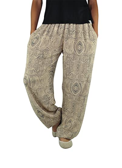 303d2efa47d9d virblatt Pantalon Fluide imprimé, Pantalon été Leger, Pantalon Bouffant,  Pantalon Ethnique Style Hippie Chic pour Femmes et Hommes, Taille Unique  pour Les ...