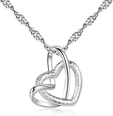 Corazón collar real 925 plata muchos circonita Weiss