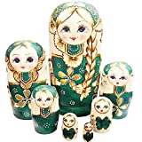 F.Dorla 7pcs Handmade Russian Nesting Doll Basswood Matryoshka Doll Wooden Toy Gift for Girls kids Decoration (Green)
