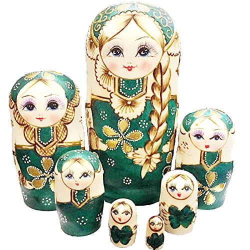 F.Dorla 7pcs Handmade Russian Nesting Doll Basswood Matryoshka Doll Wooden Toy Gift for Girls kids Decoration (Green) (Dinosaur Nesting Dolls)