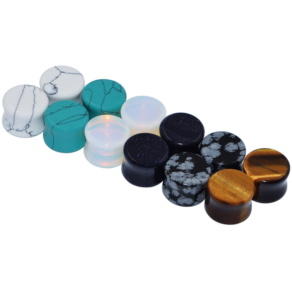 D&M Jewelry 6 Pairs Mixed Stone Ear Plugs Tunnels Saddle Expander Body Piercing Set Gauge 5/8''
