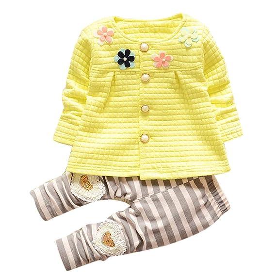Abrigos Bebé, Dragon868 cálido Invierno cálido algodón Flor Cardigan + Pantalones Largos para bebés niños niñas: Amazon.es: Ropa y accesorios
