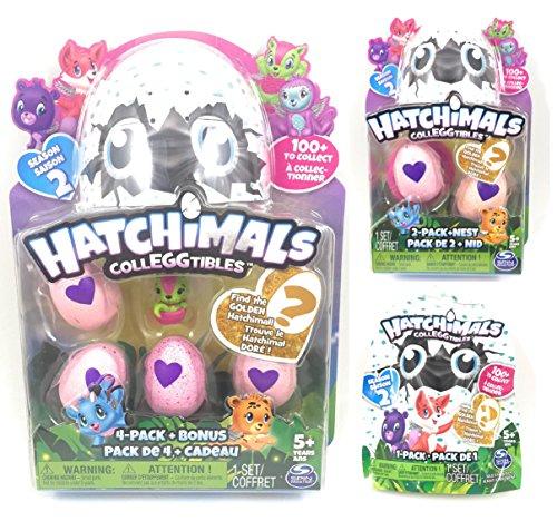 Hatchimals Colleggtibles Season 2 Set Find The Golden Hatchimal! 1 4-Pack Plus Bonus Figure 1 2-Pack Plus Nest and 1 Blind Bag Egg