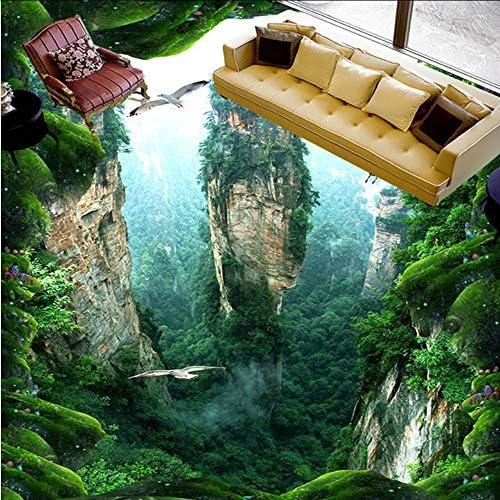 壁飾り壁画- 床の壁画の山の崖の森の風景Pvc自己接着防水肥厚リビングルームバスルーム商業床装飾壁紙-200X140Cm