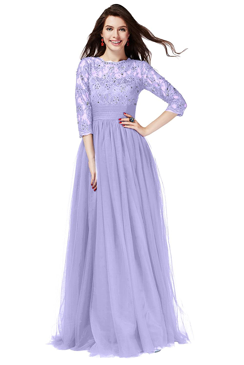 Lavender Long QY Bride Gorgeous Lace Bridal Party Dresses for Bridesmaid 3 4 Sleeve