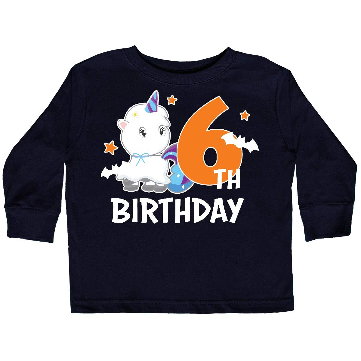 inktastic 6th Birthday with Unicorn Ghost and Bats Toddler Long Sleeve T-Shirt