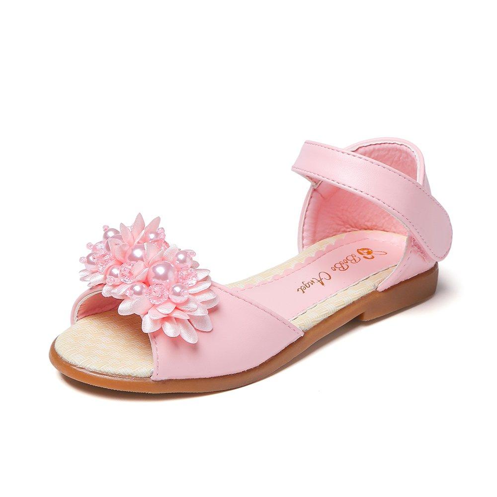 YIBLBOX Toddler Little Kids Girls Flowers Sandals Wedding Party Bridesmaid Flat Summer Shoes