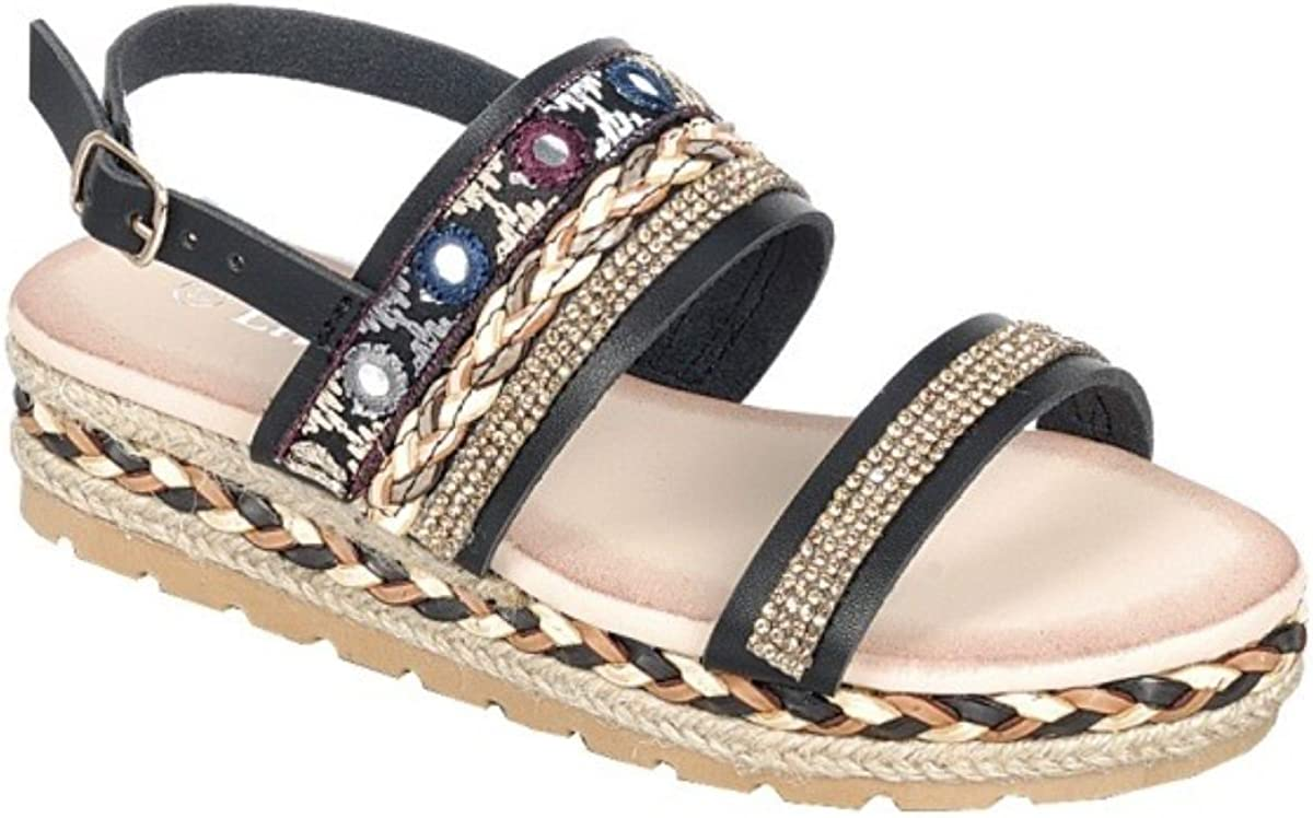 Girls Kids Multi Color Roman Gladiator Sandals Flats Strap Flower Shoes