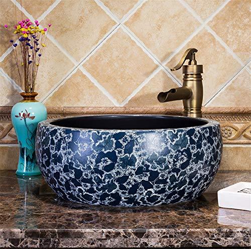 TTYY Blue White Porcelain Ceramic Basin, Jingdezhen Washbasin, Chinese Basin Flower Shape Art Basin, Vessel Sink Faucet Drains Set B