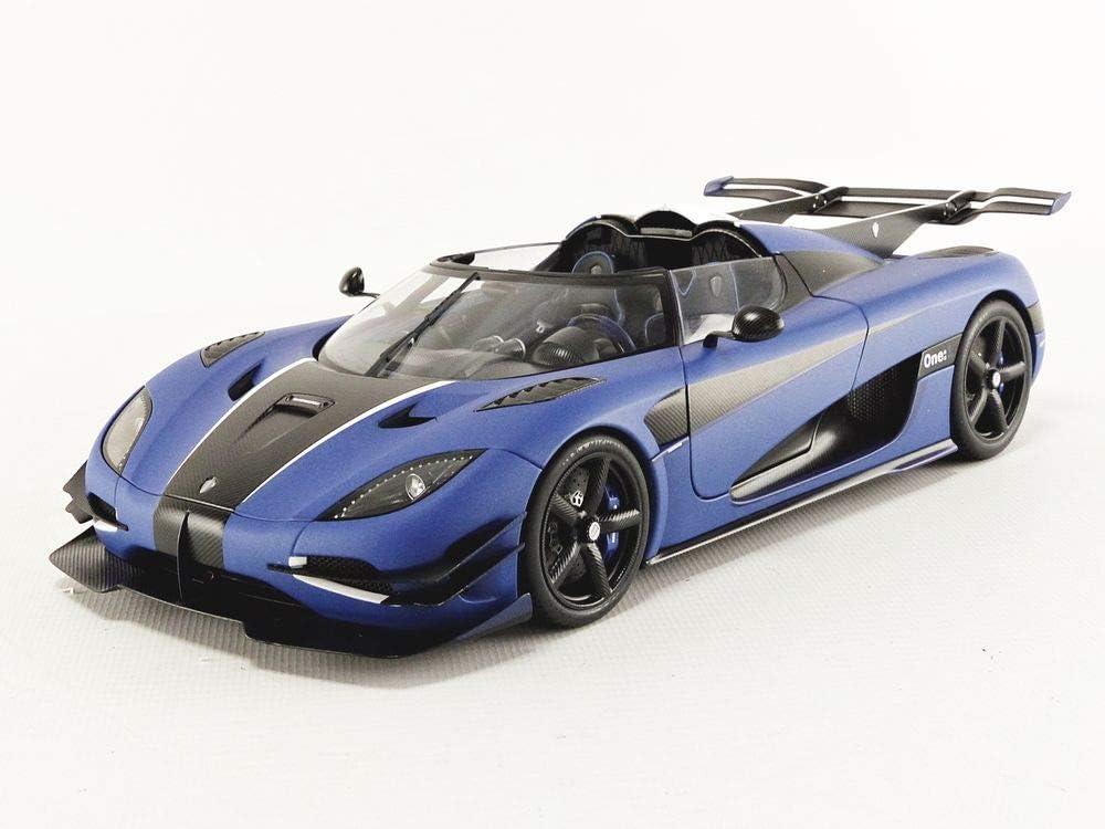 Koenigsegg One 1 >> Autoart 79018 1 18 Koenigsegg One 1 Matt Imperial Blue Carbon Black White Accents