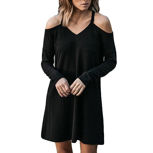 Langarm Kleid Damen Mini Strandkleid V-Ausschnitt Chiffonkleid Abendkleid  Cocktail Kleid lange Hülsenkurz Schulterfrei Kurzarm abe9bdb9ba