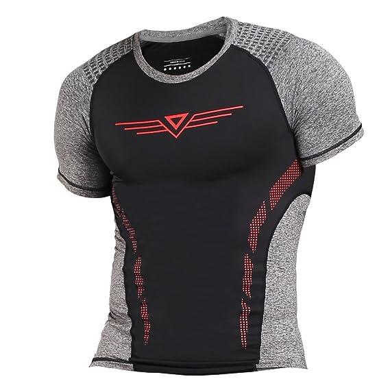 Fitibest Camisa de Compresión de Manga Corta Camisetas de Running para Hombre: Amazon.es: Ropa y accesorios