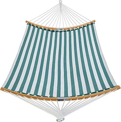 Patio Guarder 13.5FT Quick Dry Hammock Curved Bamboo Spreader Bar Double Rope Hammock