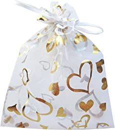 50 Organza Gift Bags Sheer Organza Pouches with Print, Wedding Bags, Jewelry Pouches (White/Golden Hearts 6 by 4.5 inches)