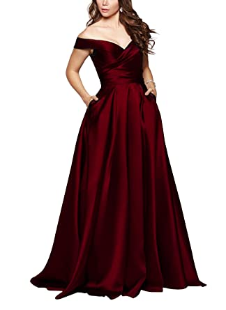 Beauty Bridal Womens Off The Shoulder Ruched Evening Gown Satin Prom Dress with Pocket L071 (
