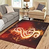 Cheap InterestPrint Home Decoration G Clef Music Note in Fire Art Area Rug 7′ x 5′, Red and Black Carpet Rugs for Home Living Dining Room