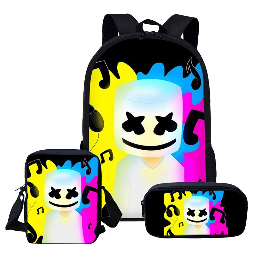 a3946993e08d Amazon.com: Marshmallow Backpack for Boys, 3D Printed School Bags DJ ...