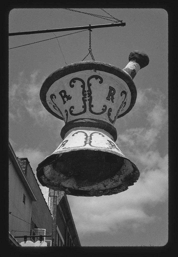 Vintography 8 x 12 BW Photo of: McGregor Pharmacy sign, Main Street, McGregor, Iowa 2003 Roadside America Margolies, John 31w
