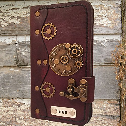 Handmade leather iPhone 6 Plus case,steampunk leather iPhone 6s Plus cover,leather 6 Plus wallet case,personalized iPhone case,book style iPhone case by Papyrus Crafts
