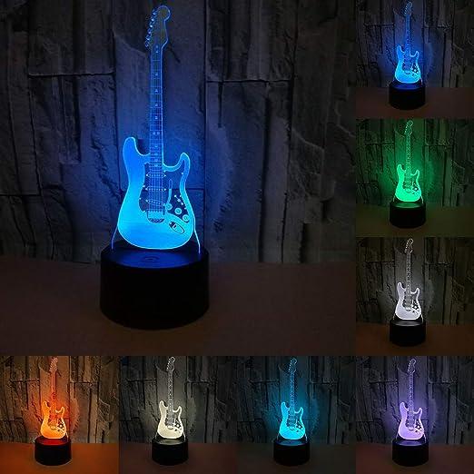 RUMOCOVO® Creative 3D Lumière électrique Guitare Modèle Illusion 3D Lampe LED 7 Couleur USB Tactile lampe de bureau Noël Cadeaux Anniversaire Cadeau