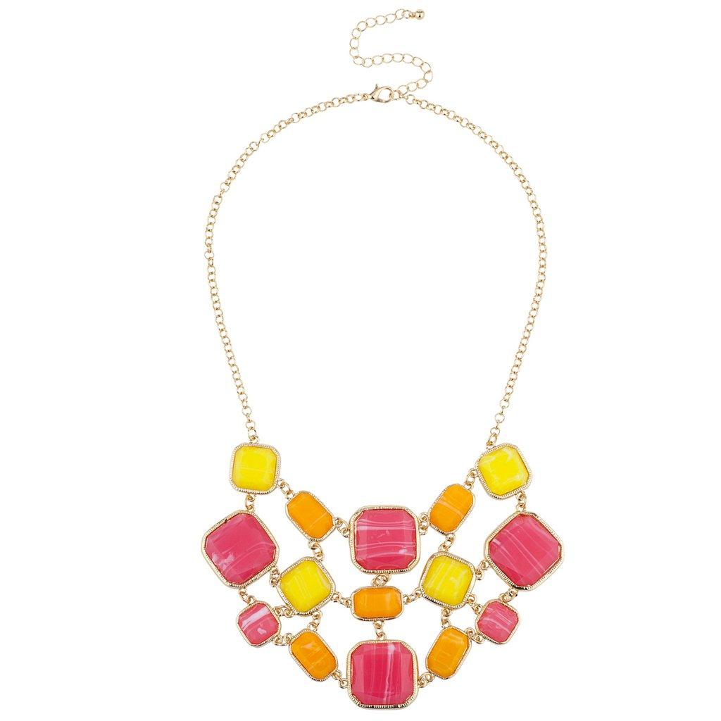 Lux Accessories Goldtone Pink Yellow Orange Square Summer Statement Bib Necklace
