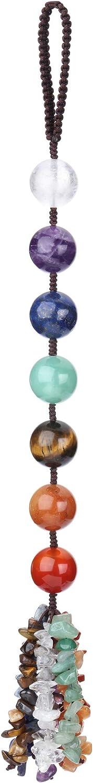 CrystalTears 7 Chakra Healing Crystal Hanging Ornament Natural Tumbled Chakra Gemstone Ball Car Wall Hanging for Good Luck Meditation Yoga Home Decor Feng Shui