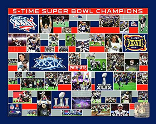 New England Patriots 5 Time Super Bowl Champions - NFL Photo 16x20