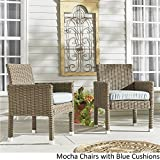 Inspire Q Barbados Wicker Patio Cushioned Dining Arm Chair (Set of 2) Oasis Mocha Finish/Blue cushion For Sale