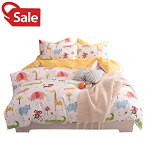 Jungle Animals Boys Twin Duvet Cover Set Cotton White Yellow Teen Kids Bedding Sets for Girls, Zoo Party, Cute Elephant Tiger Monkey Beetle Giraffe Lion Alligator Cat Print Comforter Cover