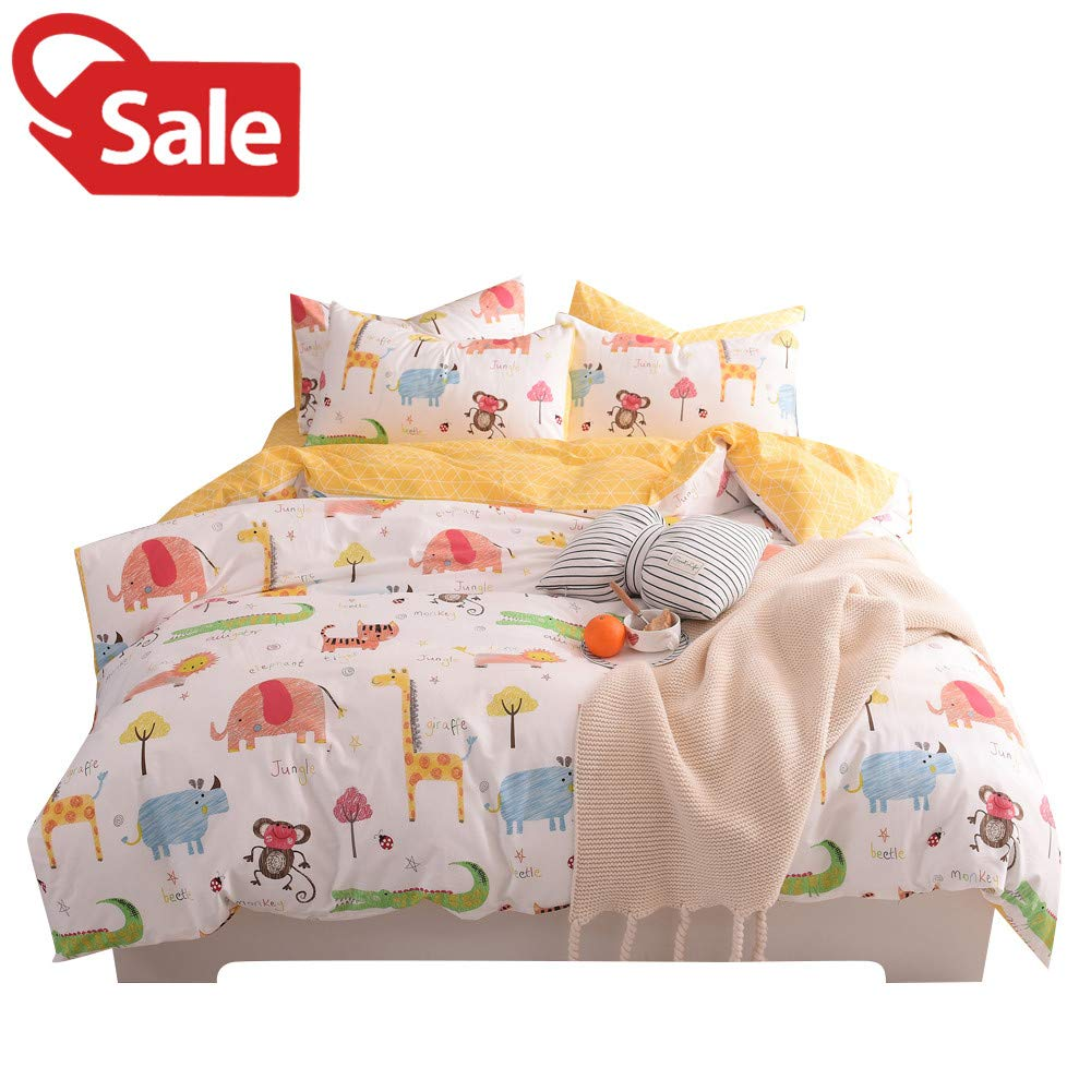 Jungle Animals Boys Kids Queen Duvet Cover Set Cotton White Yellow Teen Full Bedding Sets for Girls, Zoo Party, Cute Elephant Tiger Monkey Beetle Giraffe Lion Alligator Cat Print Comforter Cover