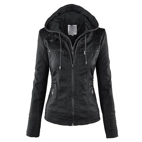 Chaqueta con capucha de las mujeres chaqueta de cuero de la PU Chaqueta de la motocicleta chaqueta de invierno de prendas de vestir S-5XL