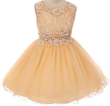 e1f88663f BluNight Collection Little Girls Sparkling Rhinestone Sequence Bodice Flower  Girls Dresses (5M2B) Champagne 4