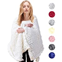 Topgalaxy.Z Knitted Throw Blanket for Sofa and Couch, Handmade Knit Acrylic Blanket Throw Chunky Bulky Sofa Throw for Gift Sofa Bed, Chunky Knit Blanket, Knit Throw Blanket