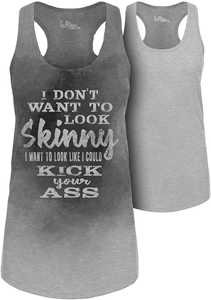 Sweat Activated Technology Tank Top with Workout Motivational Hidden Message I Don't Want to Look Skinny for Women