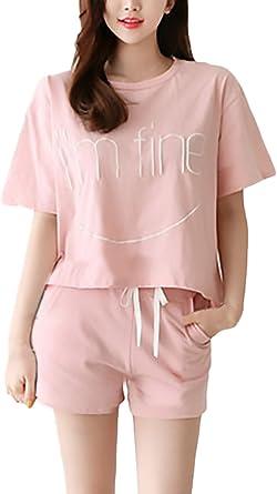 Pijamas Mujer Verano Elegante Manga Corta Cuello Redondo Camison Camisones Sleepwear Camisetas Tops+Shorts Dos Piezas Anchas Casual Confort Homewear ...