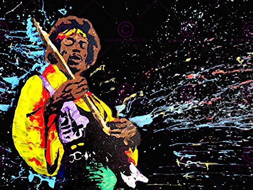 Music Artist Illustration Painting Jimi Hendrix Guitar Hero 18X24 Poster Art Print Lv10216
