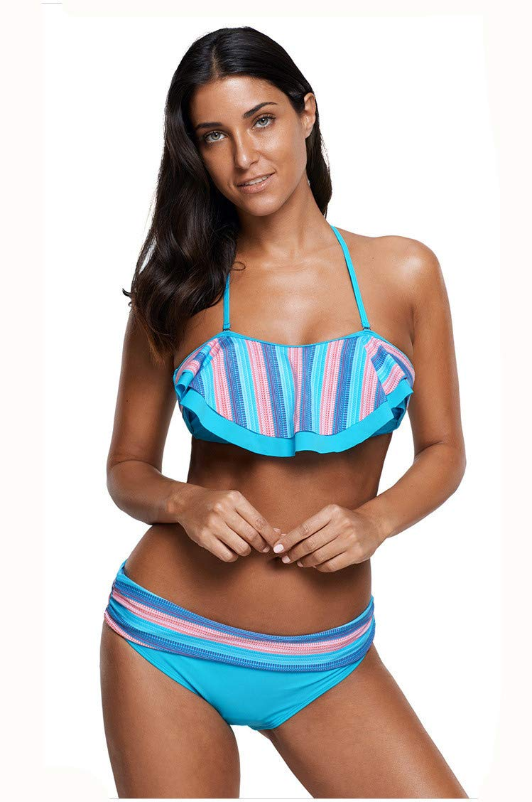 blueee Small BuyBuyBuy Women's TwoPiece Swimsuit, Ruffled Collar LowCut Print LowRise Backless Sexy Bikini Comfortable