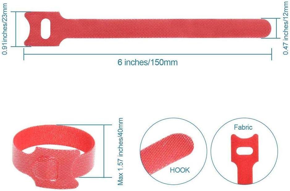 50 Bridas Reutilizables de 15 cm, Ajustables con Velcro, trabilla ...