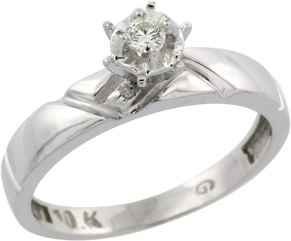 w// 0.05 Carat Brilliant Cut Diamonds Sterling Silver Diamond Engagement Ring 5//32 in. Size 8.5 wide 4mm
