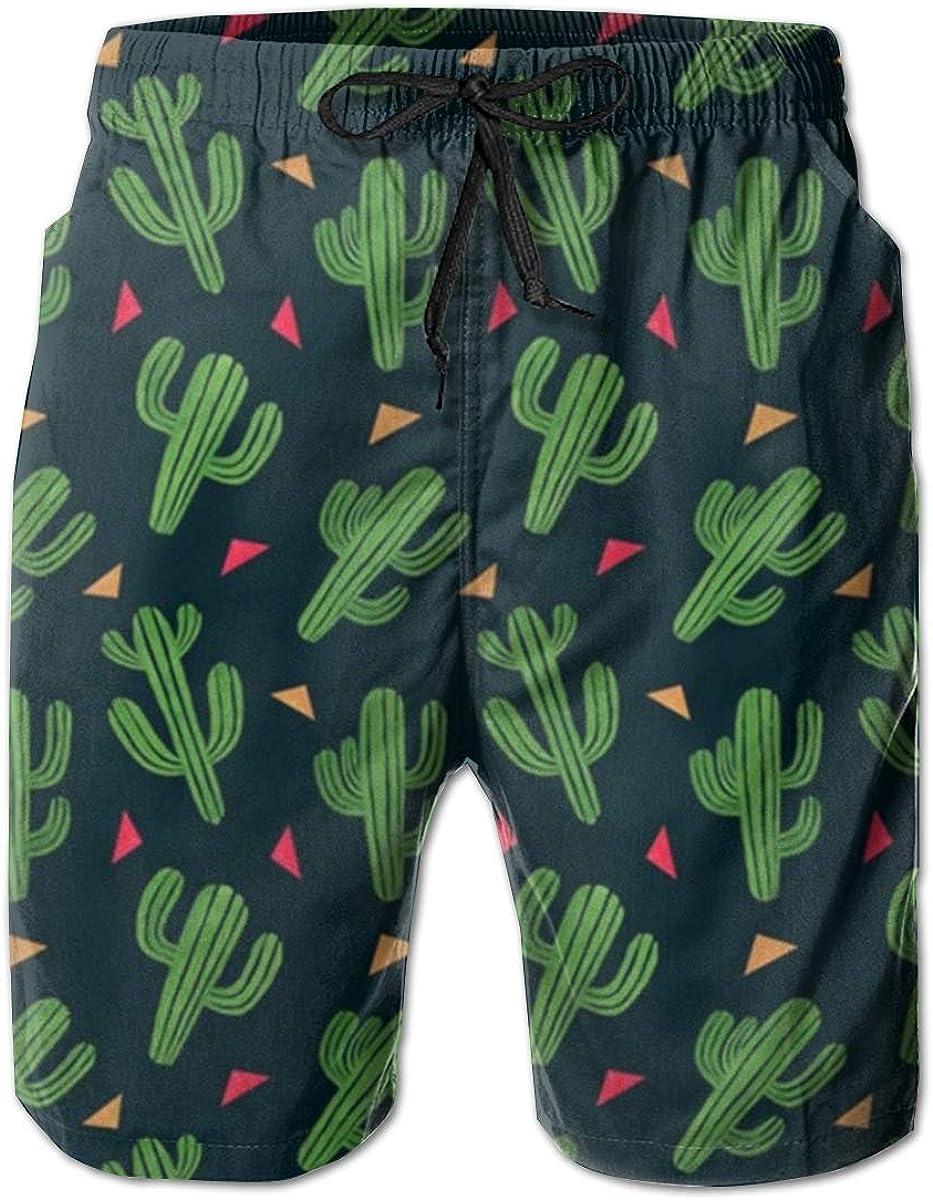 YongColer Mens Cactus Printed Funny Swim Trunks Quick Dry Beachwear Sports Running Swim Board Shorts