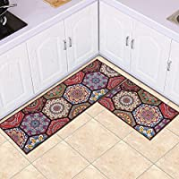 MAXYOYO Boho Kitchen Runner Rug Set, 2 Pieces Runner Rug for Kitchen, Oil Proof Water Proof Carpet Runner Kitchen Rug Throw Rugs with Rubber Backing, 24 x 16 In + 47 x 16 In