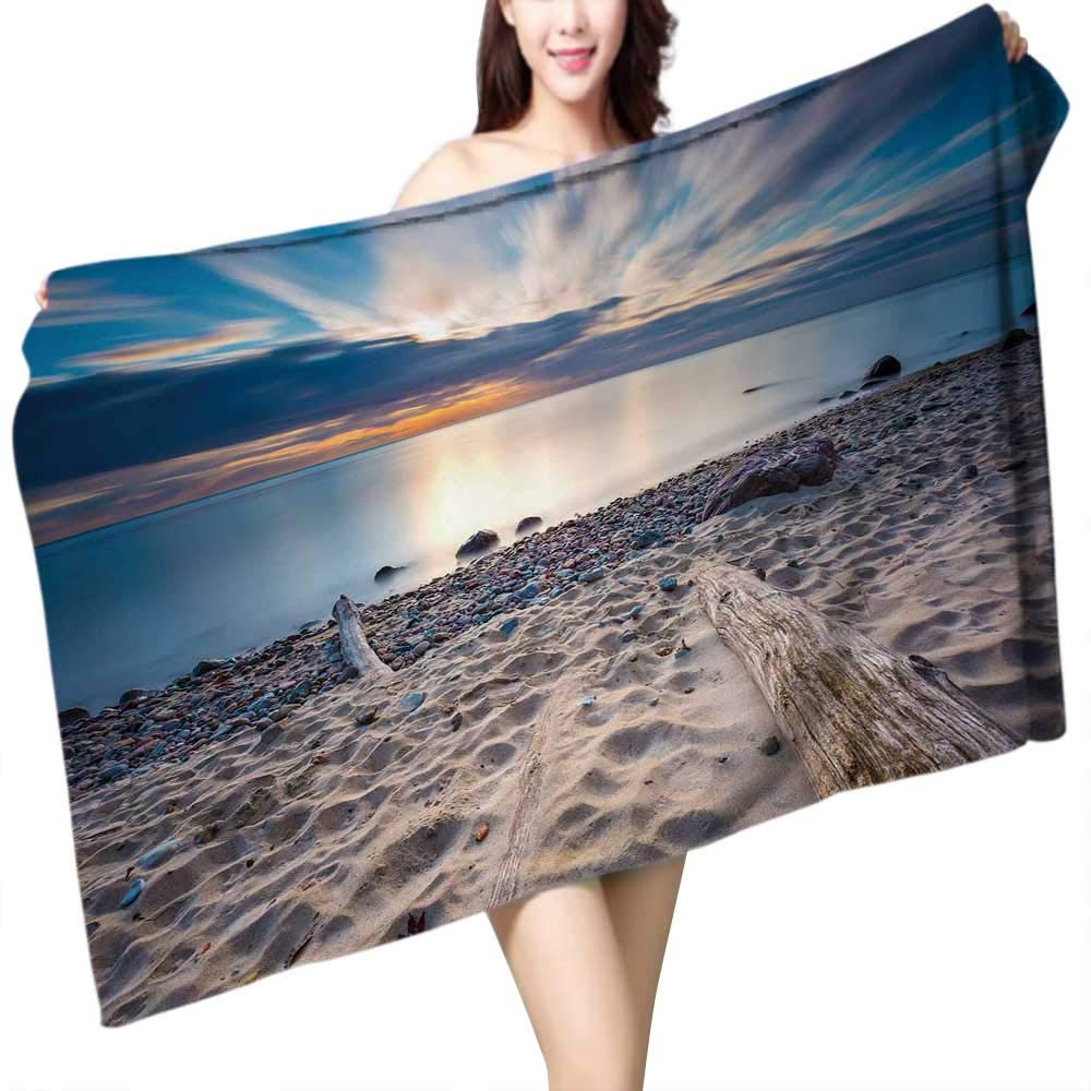 UHOO2018 Bath Towel Beautiful Rocky sea Shore with Driftwood Trees Trunks at Sunrise or Sun Bathroom Towels W 31.5'' x L 63''