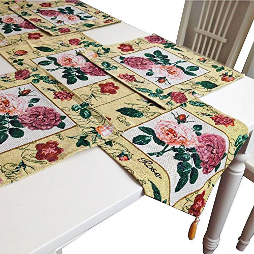 8' American Blue Green Pool (Rustic Rosette Table Runners Burlap Cotton Cloth Vanity Tablecloth with 4 Set Tulip Gold Doilies Mats for Wife Kitchen Round Dining Table End Table Coffee Pub Lodge Restaurant Decoration Rose Flower)